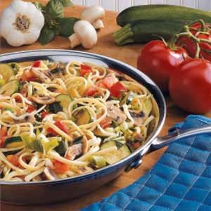 Vegetarian Linguine - made with zucchini, mushrooms, onions, garlic, tomatoes, cheese, linguine, seasonings.