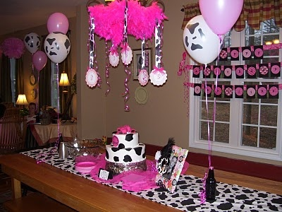 Pink and cow print set up