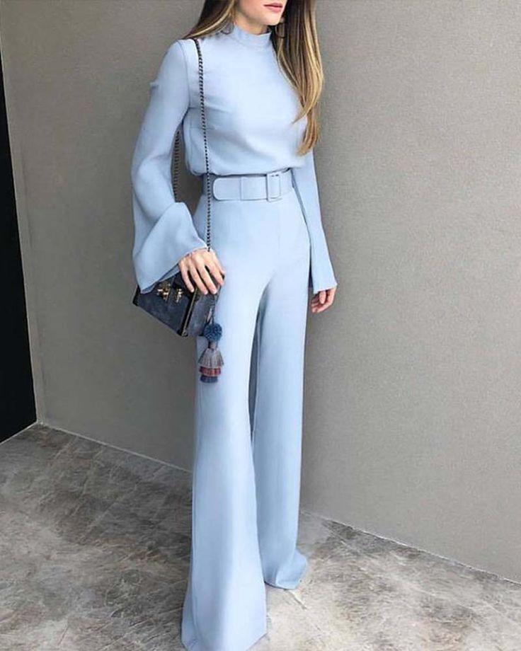 Fashion Pure Colour Half High Collar Blue Suit