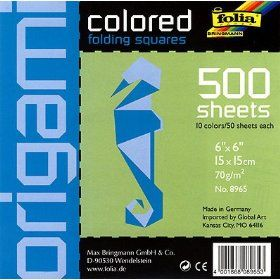 Origami- Colored Folding Squares Giant Pack of 500 6x6 Inch Sheets $14.95