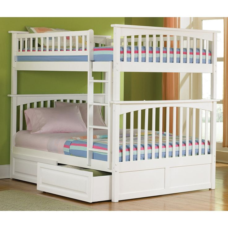 Atlantic Furniture Columbia Full over Full Bunk Bed - The Columbia Full over Full Bunk Bed is constructed of sturdy hardwood in a Mission style that features stylish slats. It includes 26 steel reinforcem...