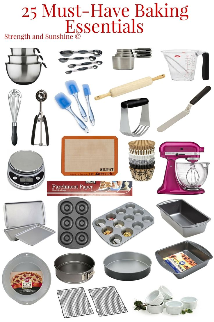 25 Must-Have Baking Essentials | Strength and Sunshine @RebeccaGF666 From fledgling home bakers to professional pastry chefs, some baking essentials are a must-have all around. With the right 25 must-have tools and a little practice, everyone will be whisking their way to baking greatness. These 25 make the perfect gifts for holidays too!