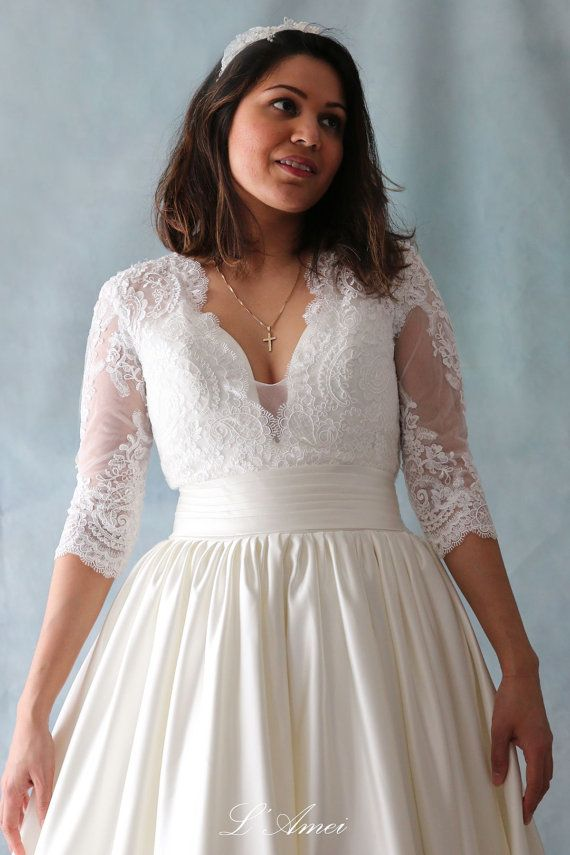Custom Made Soft Lace Classical Blush Wedding Gown with V by LAmei