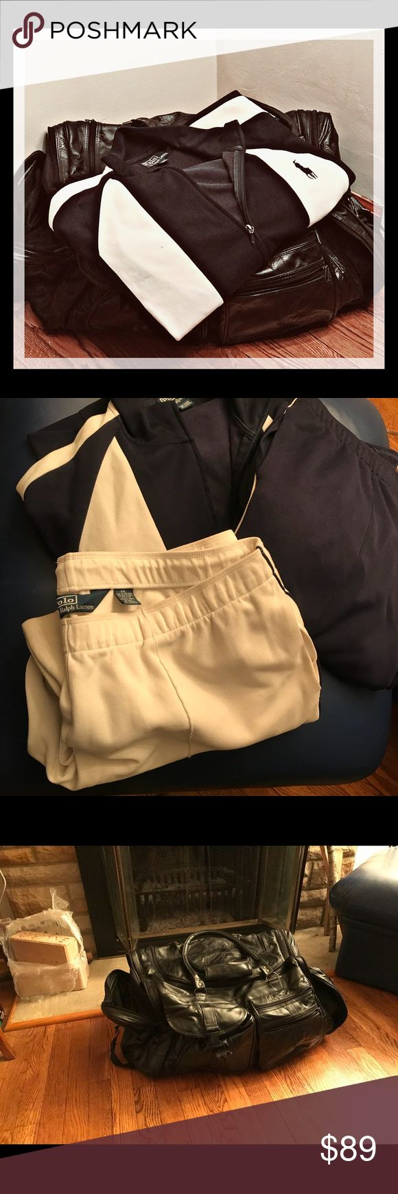 Ralph Lauren jogging suit w large leather duffel Ralph Lauren jogging suit with two pairs of pants blue and white. Like having too expensive jogging suits. Topped off with a large bag in leather looks like $1 million Carry your work out and you're close for the day even use it for travel Bags Duffel Bags
