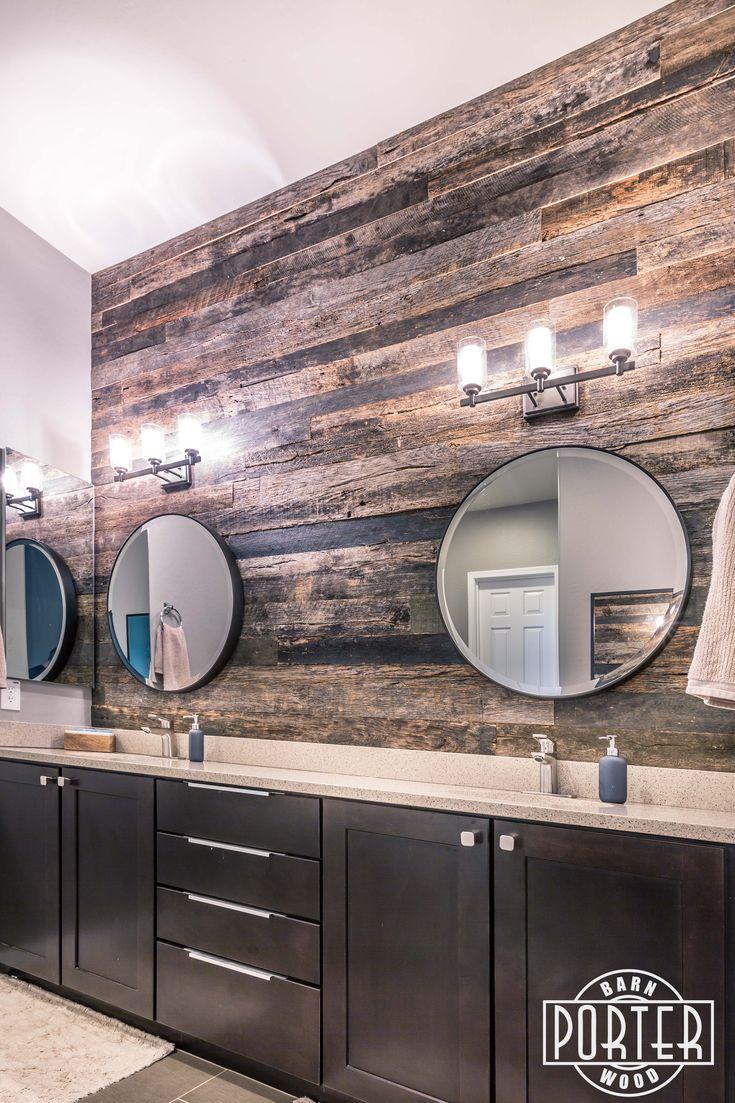 Speckled Black reclaimed barn wood backsplash for this master bathroom!