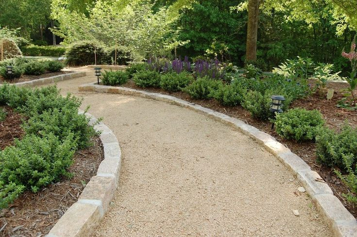 Crushed Stone Pathways : Chapel hill gravel path with mortared granite cobblestone