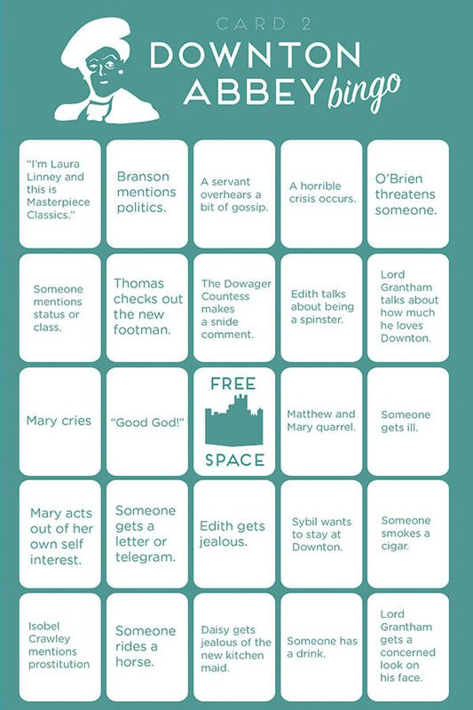 All things Downton Abbey | Downton Abbey Bingo - A Civilized Game for Addicts....jim can be our caller