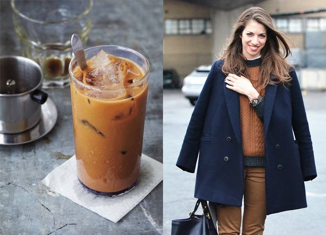 vietnamese coffee - food/fashion mashupNavy And Brown, Fashion Photos, Blue, Food, Street Style, Photos Collage, Ice Coffee, Coats, Colors Inspiration