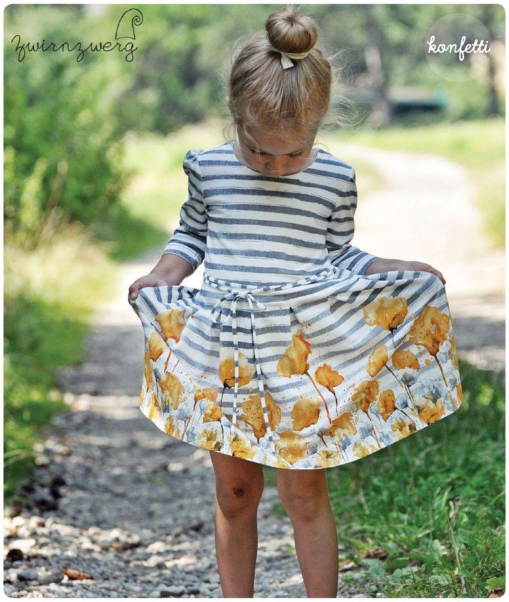 Nähanleitung und Schnitt für ein Mädchenkleid mit langen und kurzen Ärmeln i…