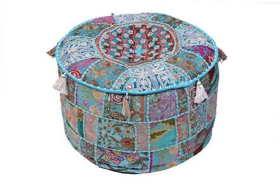 Handwork Handmade Ottomans Stool Sette Bohemian Embroidered