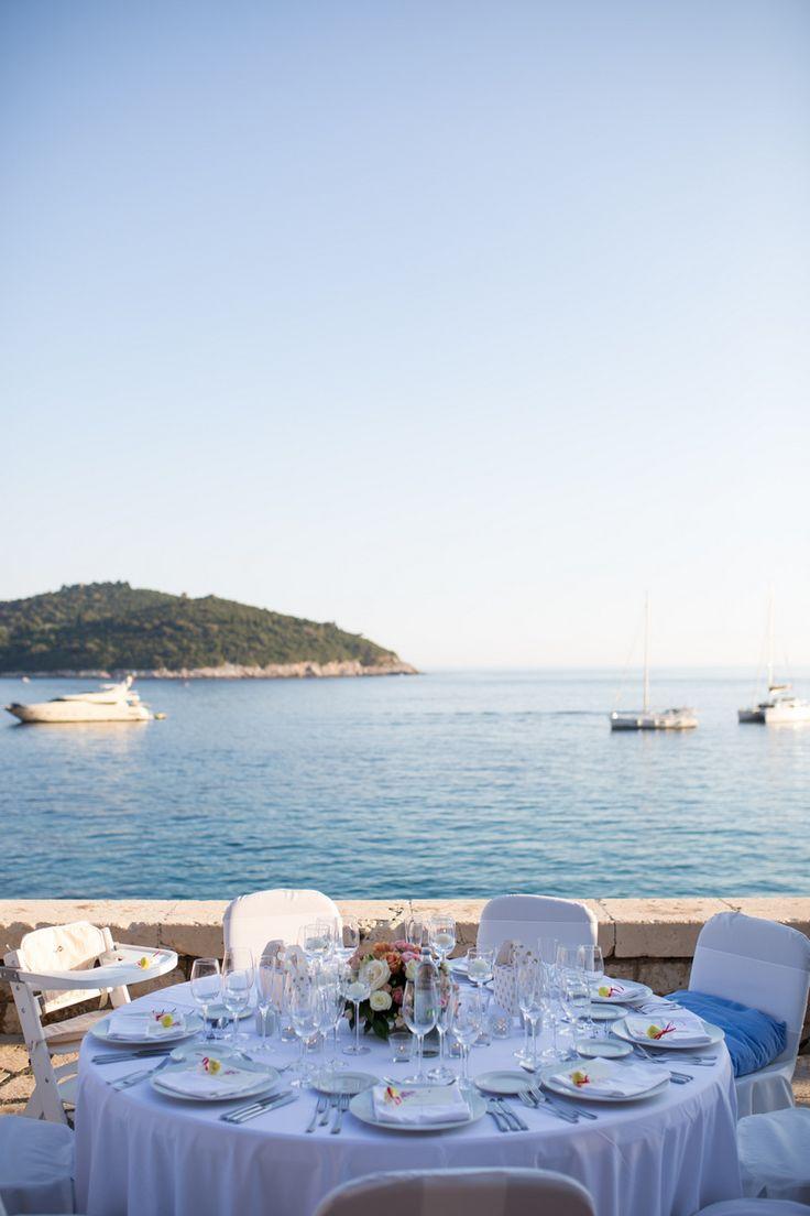 This gorgeous wedding took place in 2017 at the Elegant private terrace in Croatia. #destinationwedding #croatia #seaviewwedding #centrepiece