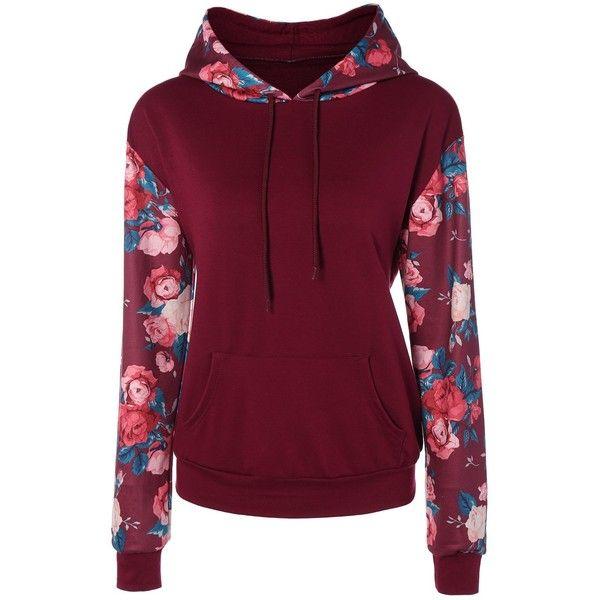 Pullover Kangaroo Pocket Floral Hoodie ($14) ❤ liked on Polyvore featuring tops, hoodies, kangaroo pocket hoodie, floral hoodies, purple floral top, hoodie top and purple hooded sweatshirt