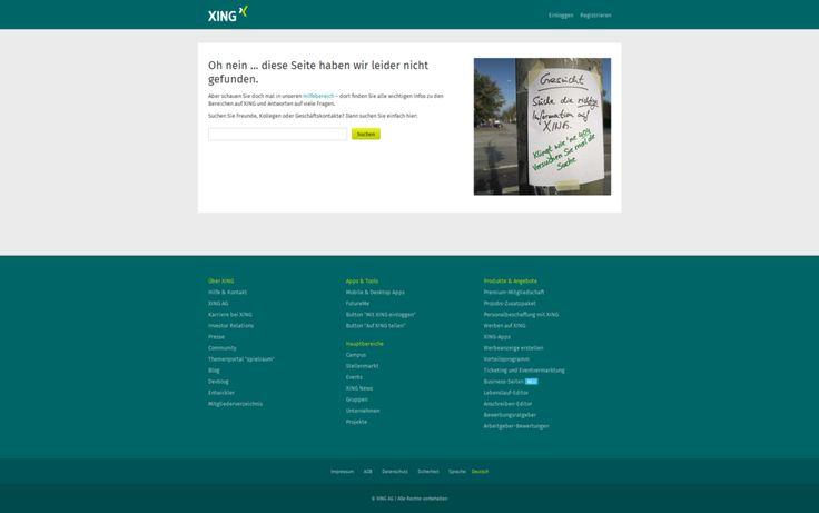 404-Seite von XING