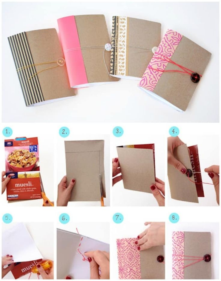 Cut out a segment of the box, fold in half, fill with blank or lined paper, add a button and cord, and decorate with pretty paper along the binding, as done here.