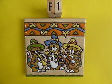 "Ceramic Art Tile 6""x6"" Mariachi Band trio cat kitten southwestern trivet wall F1"