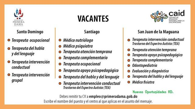 Nuevas Oportunidades RD.: Aplica a una de estas ofertas laborales. CAID.