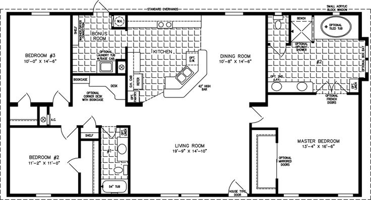 Manufactured Home  Floor Plan: The T N R • Model TNR-4582W  3 Bedrooms, 2 Baths would take out computer desk area, enlarge mud room, put walk in on bed 2 and small walk in on 3 from mud room sf.