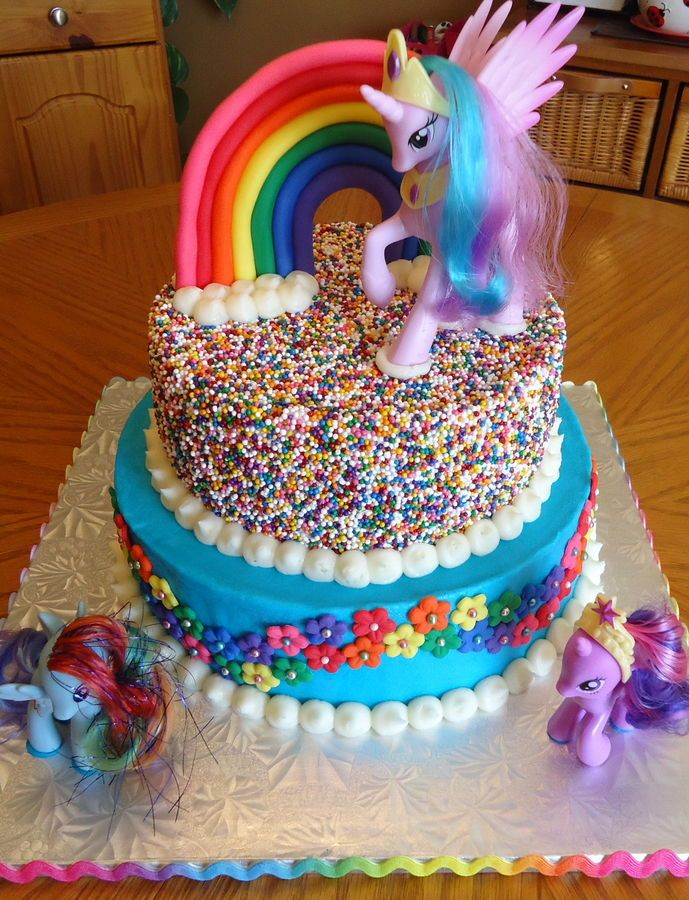 My Little Pony Rainbow Cake — Birthday Cakes @Lindsey Grande Grande Grande Grande you could totally do the top cake and get a mlp
