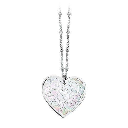 Necklace in steel and mother-of-pearl - Venere Collection by 2Jewels