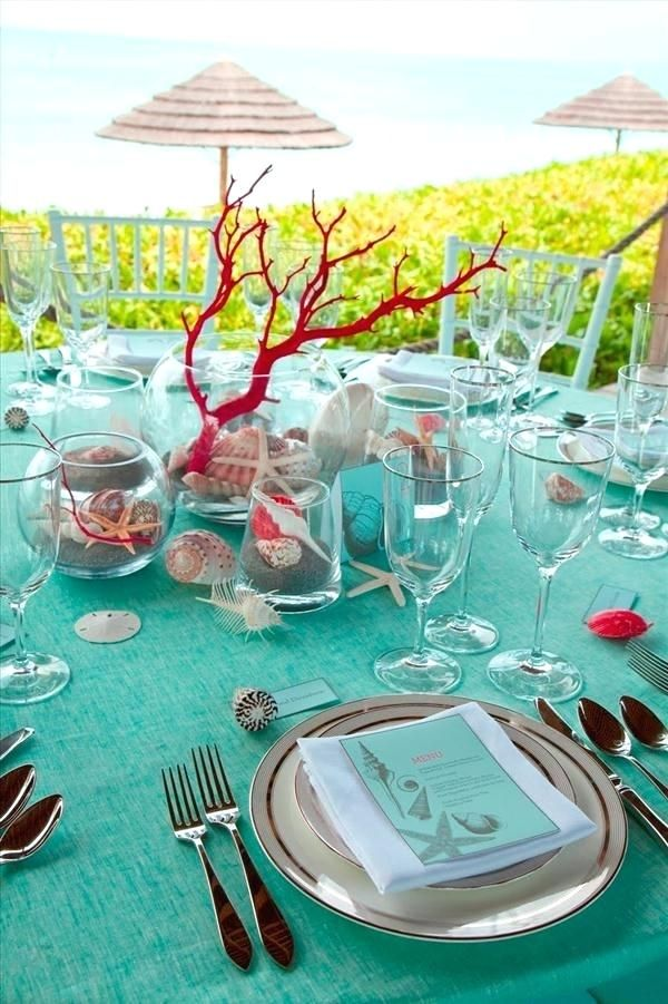 Beach Table Decorations For Weddings Themed Decor Wedding Turquoise C Centerpiece Reception