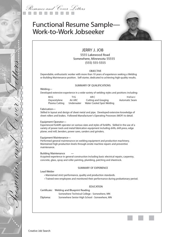 sample resume for welding position