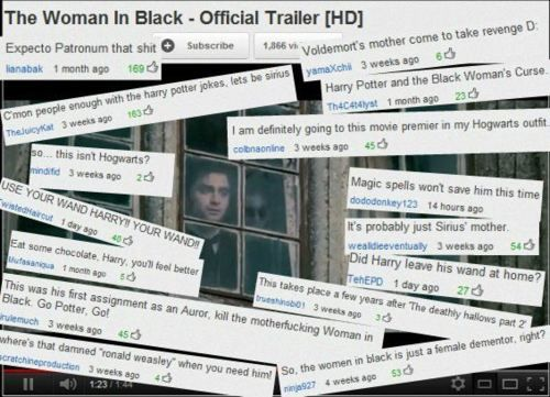 HP comments on Woman In Black trailer. Love love love. People after my own heart.