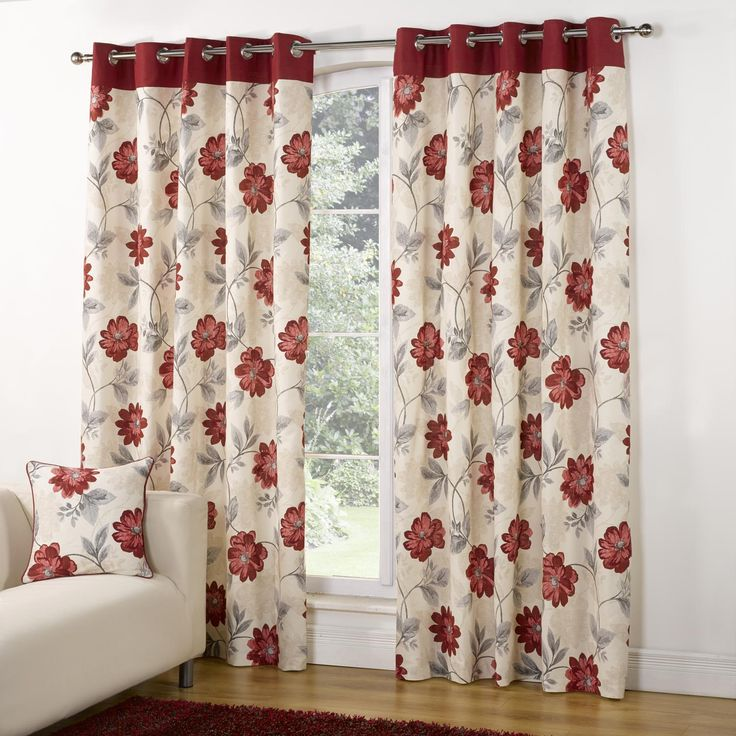 Modern Casa Floral Trail Print Lined Eyelet Curtains   Red