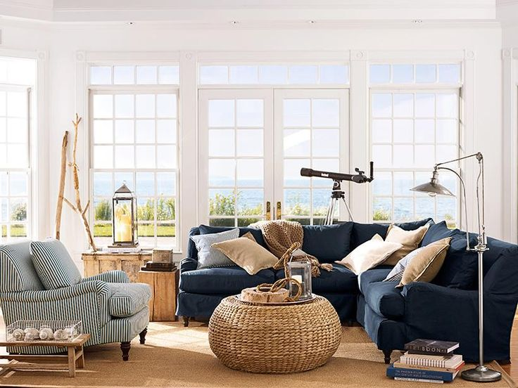 50 Best Coastal Blues Great Room Ideas Natural Cream Khaki Indigo New Living Room Beach Decorating Ideas Decorating Inspiration