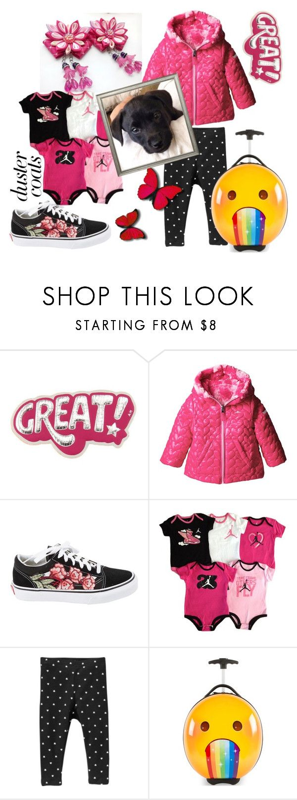 """What's Trending NOW in Kids Fashion». Kids fashion ideas. Trends, Tips, and Style for kids."" by airin-flowers ❤ liked on Polyvore featuring Anya Hindmarch, Pacific Trail, Vans, NIKE, Old Navy, Heys and Trowbridge"