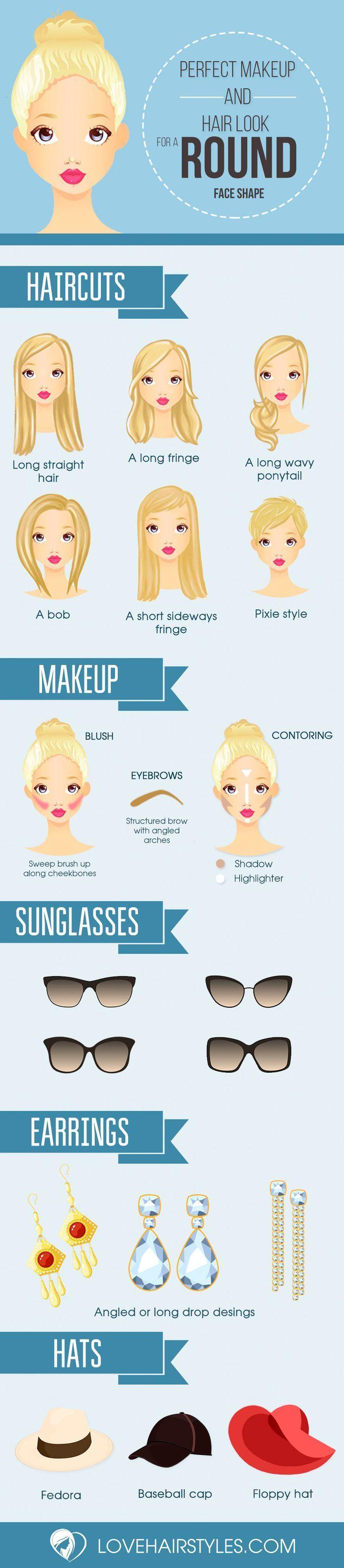 Probieren Sie diese besten Frisuren und Make-up für runde Gesichter. #besten
