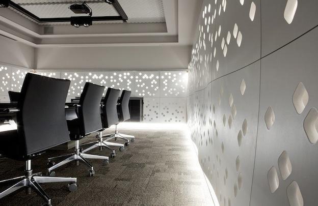 Wall panels design  Panele ścienne z łusek migdałów