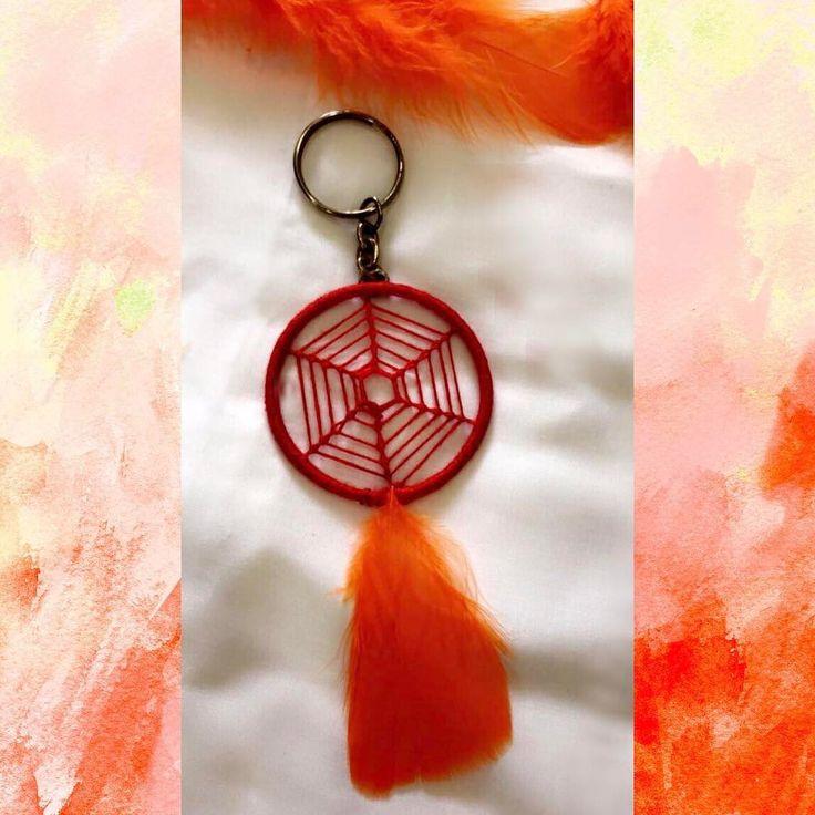 """""""🕷 Spider web keychain ❤️ #dreamcatcher #love #diy #makeinindia #catchthydreams #mumbai #spiderwebdreamcatcher #orange #india"""