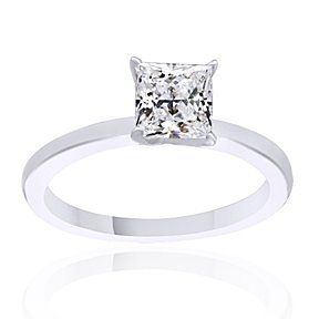 0.4 Ct D/VVS1 Square Princess Cut Diamond Solitaire Ring 14K White Gold # Free Stud Earrings by JewelryHub on Opensky
