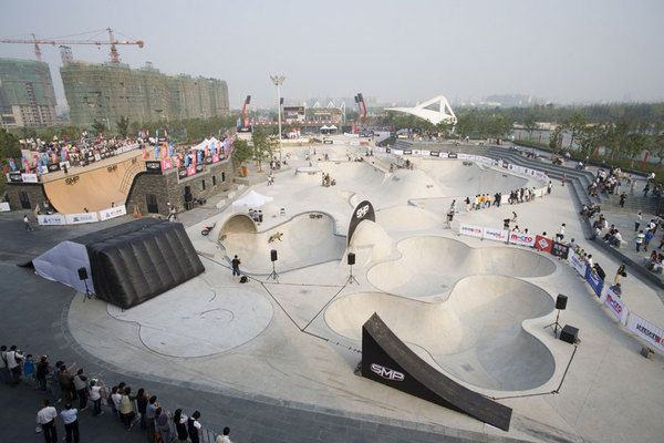 World's largest skatepark. Jiangwan City, Shanghai, China