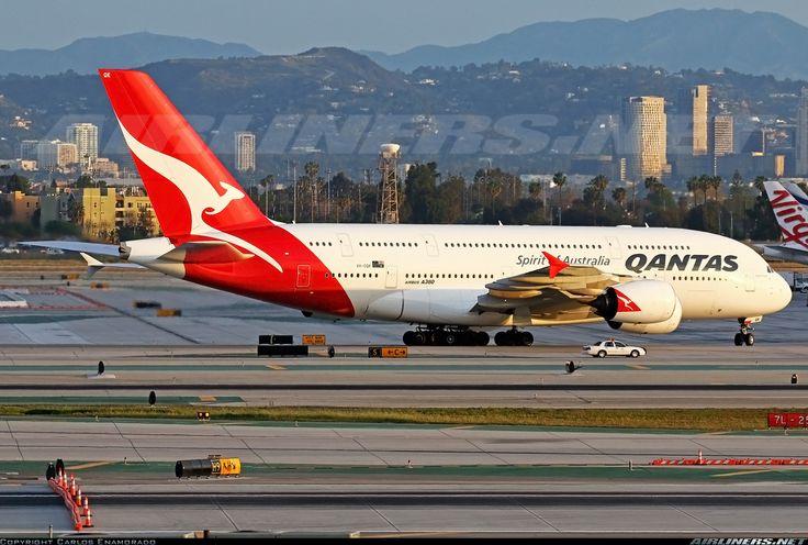 Airbus A380-842, Qantas, VH-OQK, cn 063, 484 passengers, first flight 1.4.2011, Qantas delivered 25.11.2011. 27.5.2016 flight Dubai - Sydney. Foto: Los Angeles, United States, 15.3.2015.
