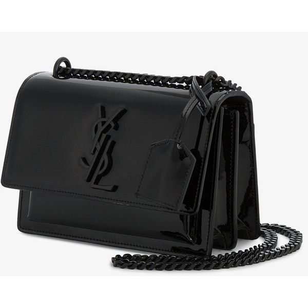 Saint Laurent Small Black Patent Sunset Monogramme bag (€1.585) ❤ liked on Polyvore featuring bags, handbags, shoulder bags, bolsas, purses, monogrammed crossbody, crossbody shoulder bag, yves saint laurent handbags, patent leather purse and handbags shoulder bags