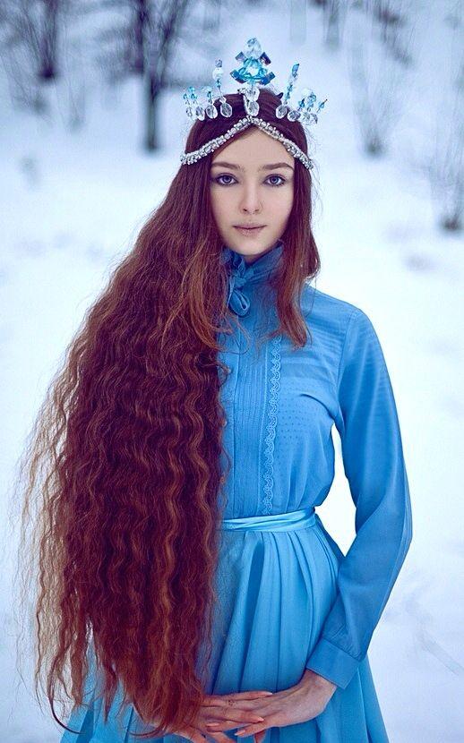 blue snow queen long hair