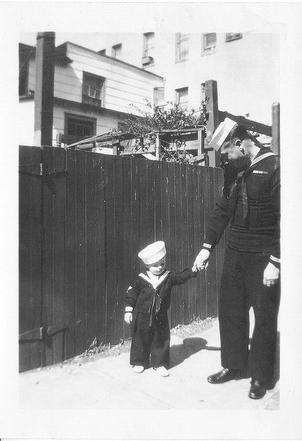 Sailor Dad & Sailor Baby - 1 April 1945. I'd love to get an old time pic of Tim and Trenton like this!