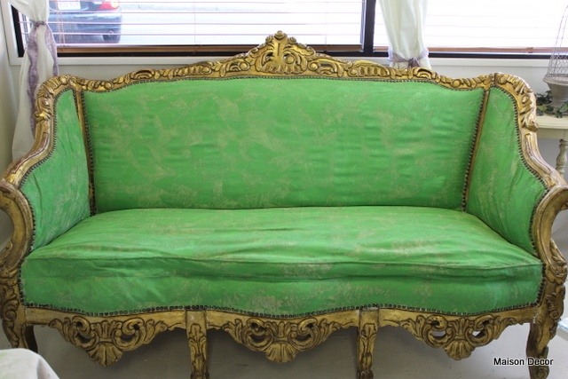 Antibes Green from the Chalk Paint® decorative paint by Annie Sloan range on upholstery fabric made this one chic sofa!  Thanks Amy Chalmers