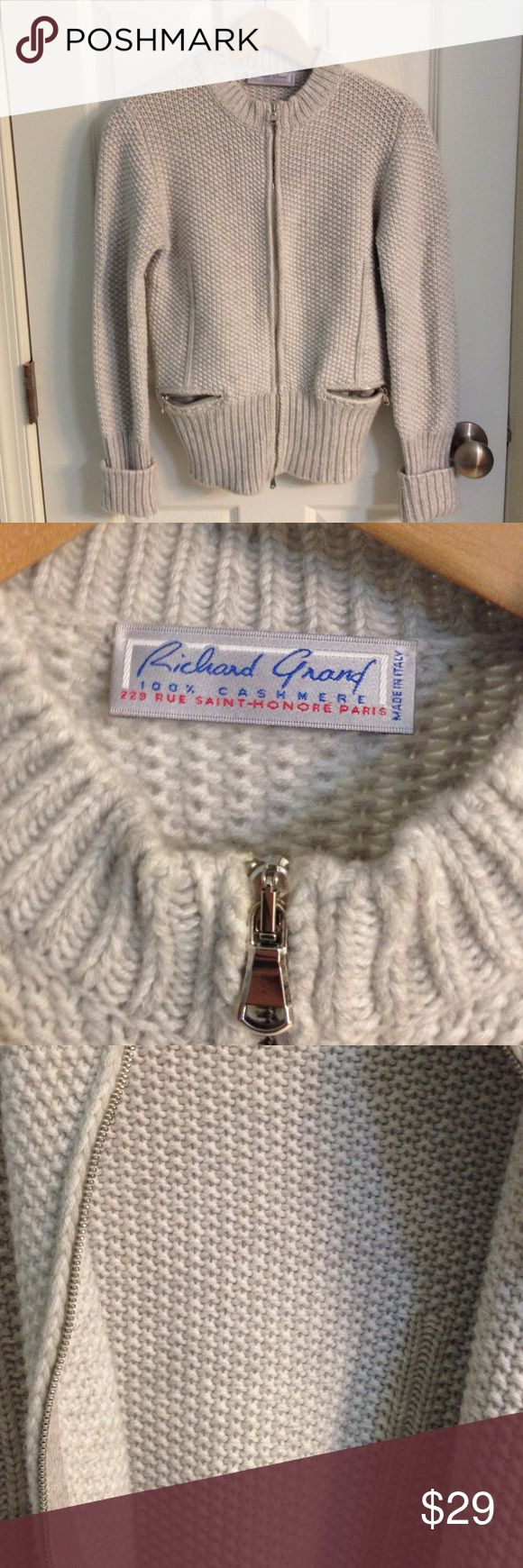 Richard Grand Cardigan Sweater 100 % Cashmere.  Made in Italy.  Rich oatmeal color. Tag says Medium, but runs more like a small. Beautiful weave.  Barely worn.  Excellent condition. Offers welcome! Richard Grand Sweaters Cardigans