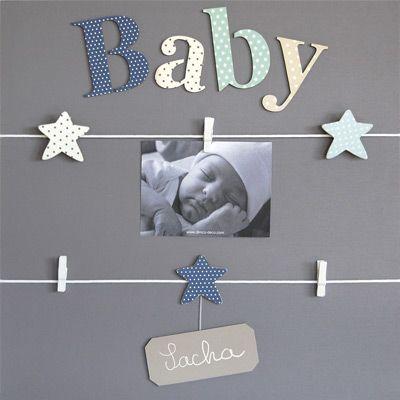 Pêle-mêle Bleu 5 vues personnalisable à la craie Baby - Titoutam
