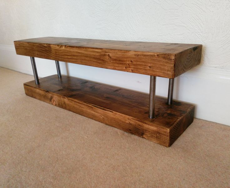 tv stand narrow chunky rustic industrial solid wood lcd slim tv unit with tube steel inserts