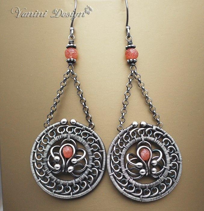 Sphere-Fine999/Sterling Silver,Sunstone chandelier earrings. via Etsy. By Vanini Design