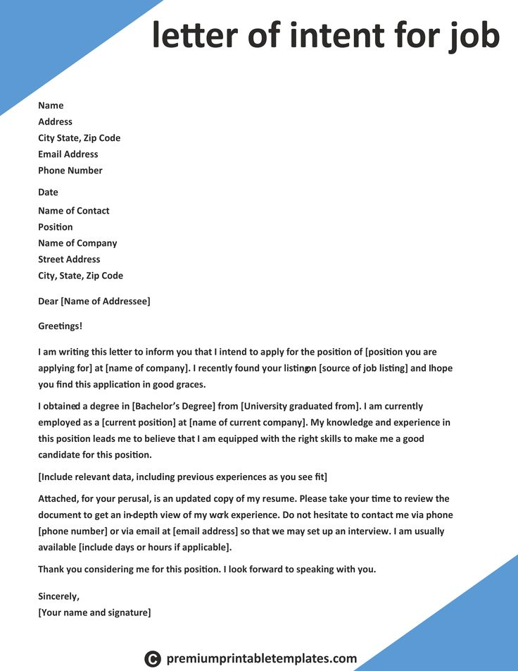 Letter Of Intent For Job Intent Letter Templates Job