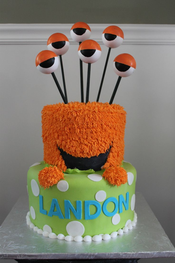 I was asked to do a monster cake for Landon's 1st birthday. We had first come up with the idea of the monster's head sitting atop of the bottom tier. Then, we decided it would be really neat to hav...
