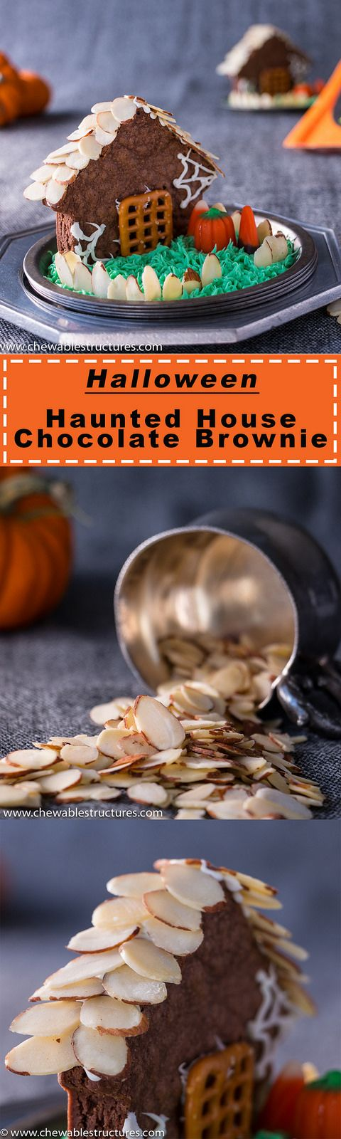 This Halloween Haunted House Chocolate Brownie With Shaved Almonds Will Scare Your Friends - Chewable Structures: Happy Halloween! It's time to scare your loved ones with sweet treats, like this haunted house made of chocolate brownies, California almonds, frosting, and let's not forget– candy corn. This fun and easy dessert recipe only takes a few minutes and will scare your friends with sweetness.