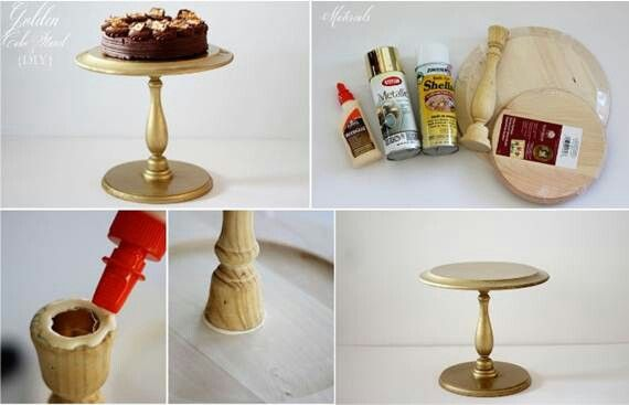DIY Wood Cake Stand   Craft Ideas   Pinterest