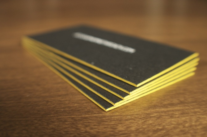 Custom letterpress business cards with edge painting via Grand Rapids Letterpress company: Freshly Squeezed Print Shop