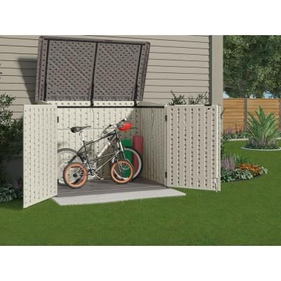 Suncast The Stow-Away 3 ft. 8 in. x 5 ft. 11 in. Resin Horizontal Storage Shed-BMS4700 at The Home Depot