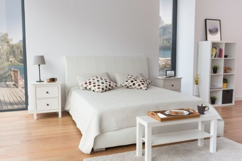 Pat dormitor Jupiter tapitat 180cm, lada depozitare, somiera metalica - Acaju